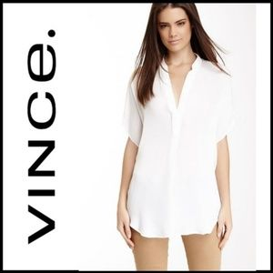 VINCE 100% Silk Off-White Cap Sleeve Blouse, S/P